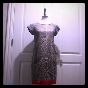 Kenneth Cole grey snake skin and red trim dress